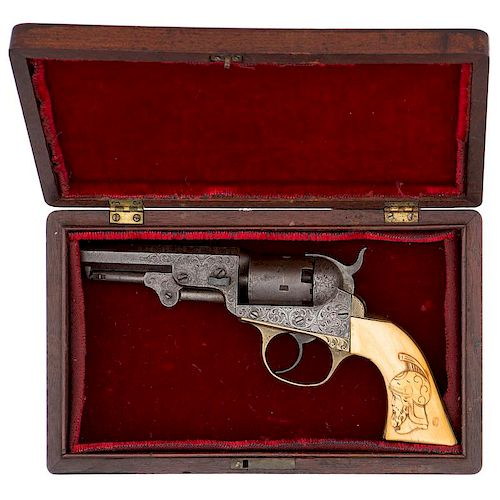 New York Style Engraved Cooper Double Action Revolver with Relief Carved Ivory Grips