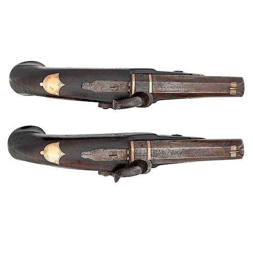 Rare Cased Pair Of Millspaugh Washington, Louisiana Gold And Silver Mounted Deringer Pistols