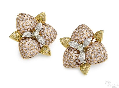18K yellow and rose gold diamond earrings