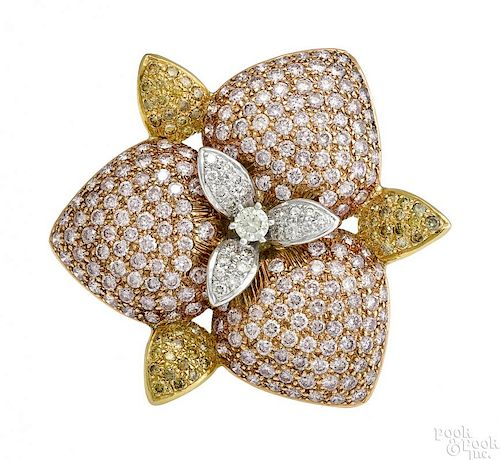 18K yellow and rose gold pendant/brooch