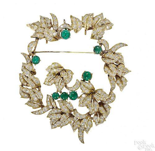 18K yellow gold emerald and diamond brooch