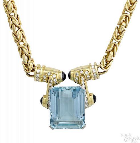 14K yellow gold aquamarine diamond ruby necklace