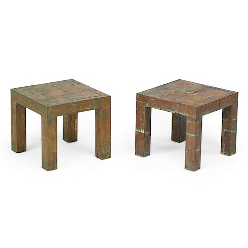 PAUL EVANS Pair of Patchwork side tables