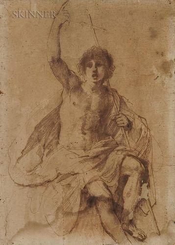 Guercino (Italian, 1591-1666)  Study for St. John the Baptist