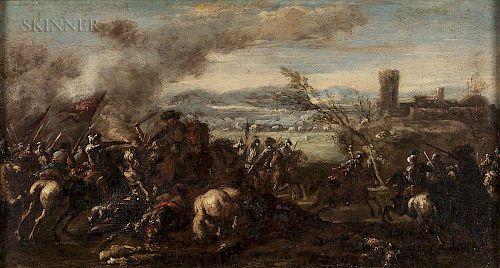 Continental School, 17th/18th Century  Battle Scene