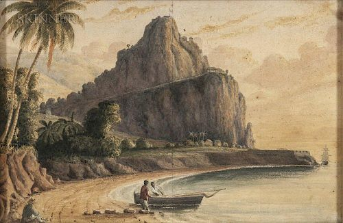 John Herbert Caddy (Canadian, 1801-1887), Three Topographical Views of the West Indies: Two Depicting Brimstone Hill, St. Kit