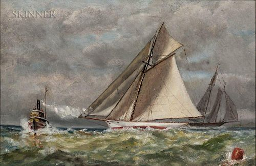 American School, 19th/20th Century  Sailing Yachts with a Steam Tugboat