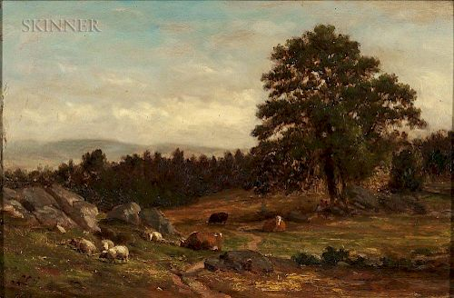 Samuel Lancaster Gerry (American, 1813-1891)  Cows and Sheep in a Rocky Pasture