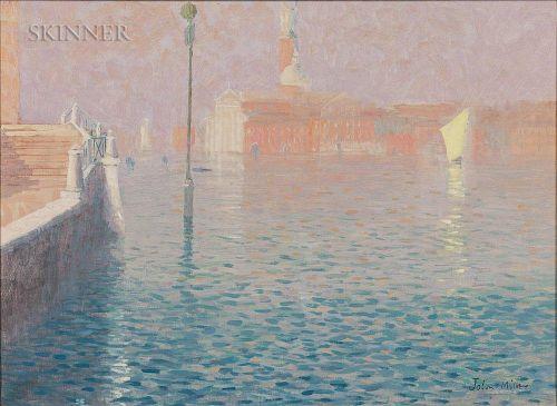 John Miller (British, 1931-2002)  Venice, Misty Evening Light