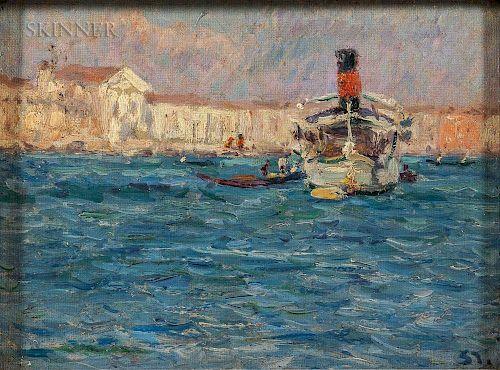 Max Arthur Stremel (German, 1859-1928)  Venedig - Dampfer  (Venice - Steamer)