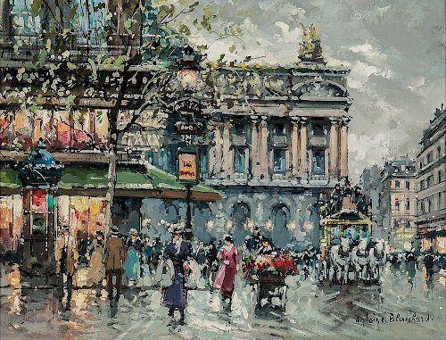 Antoine Blanchard (French, 1910-1988)  Place de l'Opéra, Café de la Paix