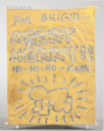 Keith Haring (American, 1958-1990)  Merry Christmas  /Envelope