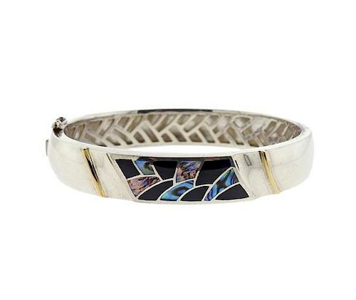 90ad961c2 Bagley & Hotchkiss 18k Gold Sterling Gemstone Inlay Bracelet by ...