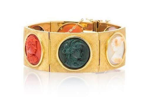 An 18 Karat Yellow Gold and Cameo Bracelet, 52.70 dwts.
