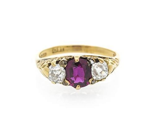 An Edwardian Yellow Gold, Ruby and Diamond Ring, 4.30 dwts.
