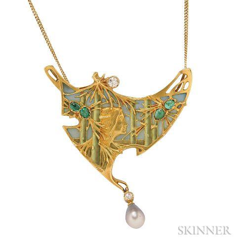 Art Nouveau 18kt Gold, Plique-a-Jour Enamel, and Enamel Pendant/Brooch, Lucien Gautrait