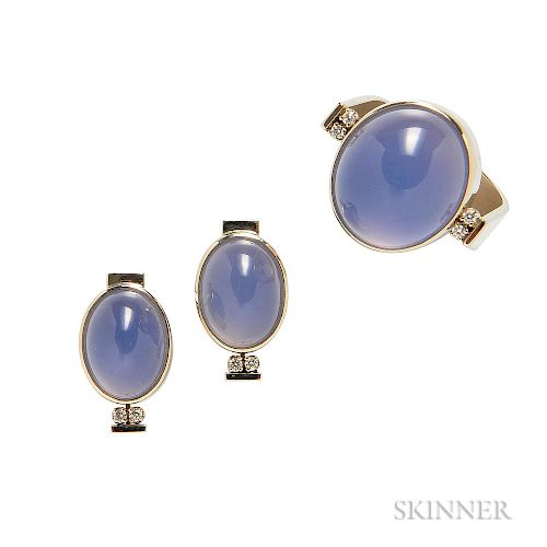 18kt Gold and Blue Chalcedony Ring and Earstuds, R.W. Wise