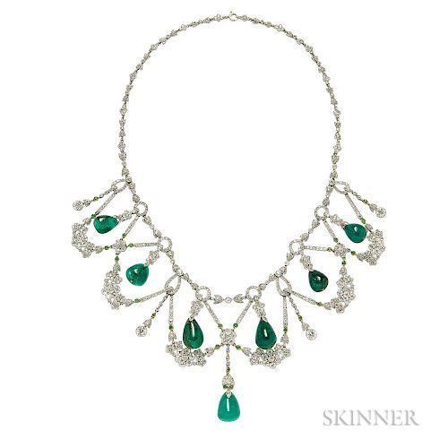 Platinum, Emerald, and Diamond Necklace