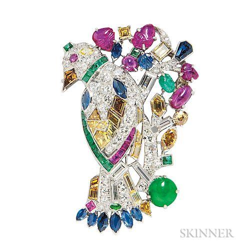Platinum, Diamond, and Gem-set Bird Brooch