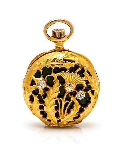 An Art Nouveau Yellow Gold, Diamond and Enamel Pocket Watch, Tiffany & Co., 14.40 dwts.