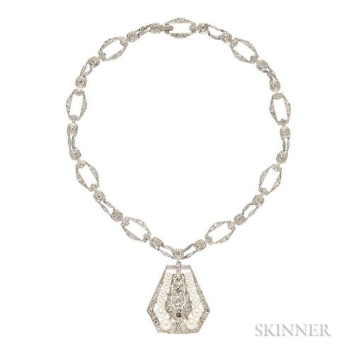 Art Deco Platinum, Diamond, and Pearl Pendant Necklace