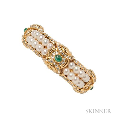 18kt Gold, Emerald, Cultured Pearl, and Diamond Bracelet