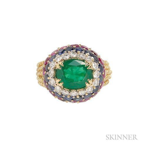 18kt Gold, Emerald, and Gem-set Ring