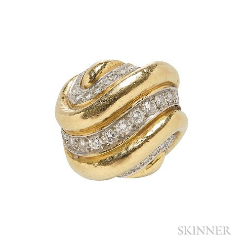 18kt Gold and Diamond Dome Ring, Andrew Clunn