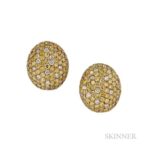 18kt Gold and Yellow Diamond Earclips