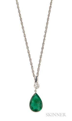 White Gold, Emerald, and Diamond Pendant