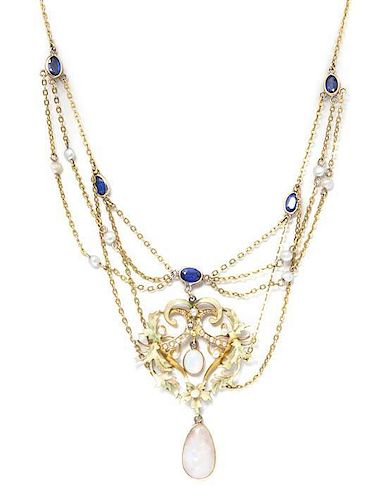 An Art Nouveau Yellow Gold, Polychrome Enamel, Opal, Simulated Sapphire and Seed Pearl Necklace, 5.70 dwts.