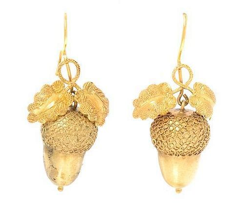 A Pair of Victorian Yellow Gold Acorn Motif Earrings, 2.00 dwts.