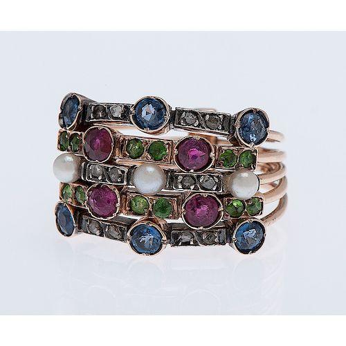14 Karat Rose Gold Multi Stone Harem Ring