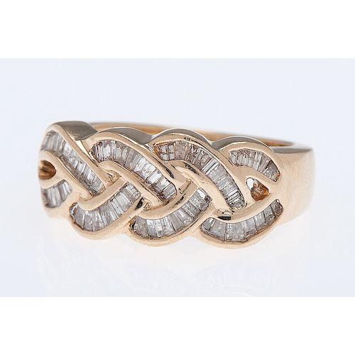 14 Karat Yellow Gold Diamond Braid Ring