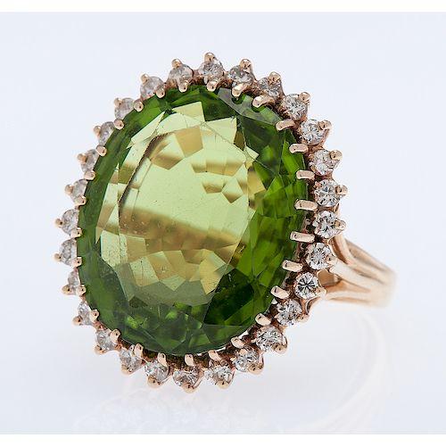 14 Karat Yellow Gold Peridot and Diamond Ring