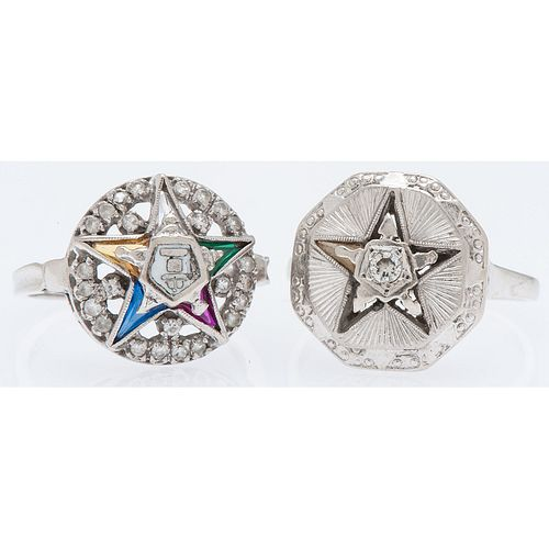 Order of the Eastern Star Rings in White Gold