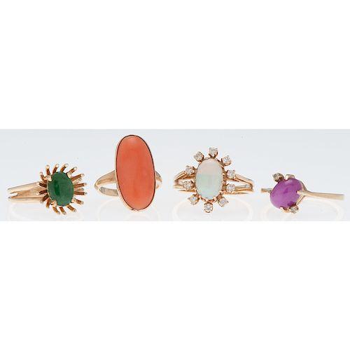 14 Karat Yellow Gold Gemstone Rings