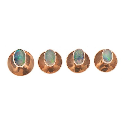 14 Karat Rose Gold Opal Tuxedo Studs