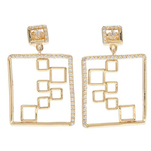 Gold Plated Sterling Silver CZ Earrings