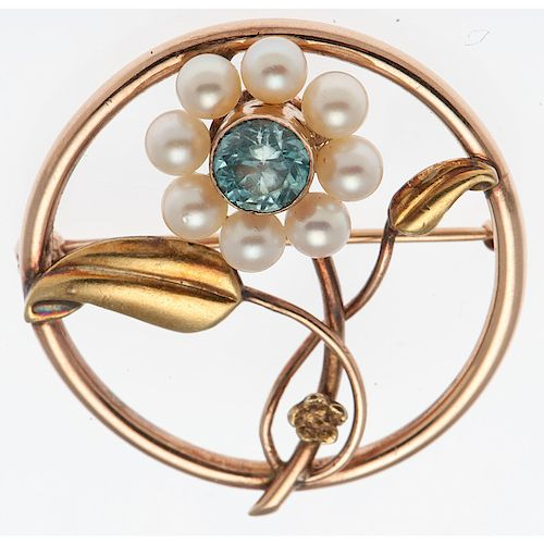 10 Karat Gold Retro Blue Zircon Brooch