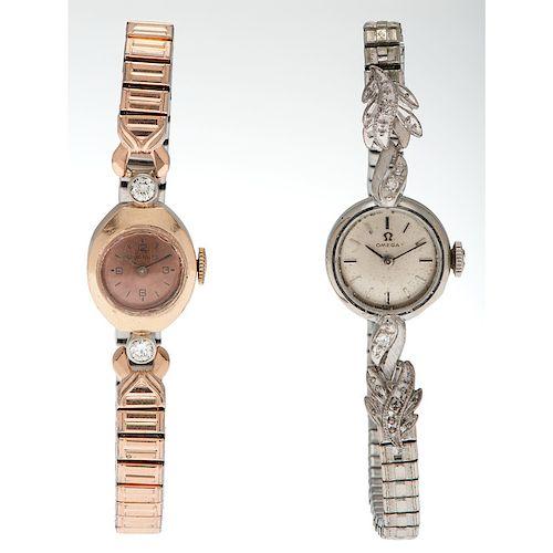 Omega and Tavannes  Wrist Watches in 14 Karat Gold