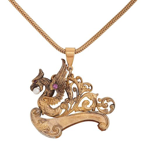Gold Filled Griffin Pendant
