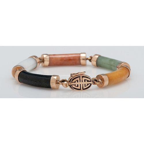 14 Karat Gold Jade and Hardstone Bracelet