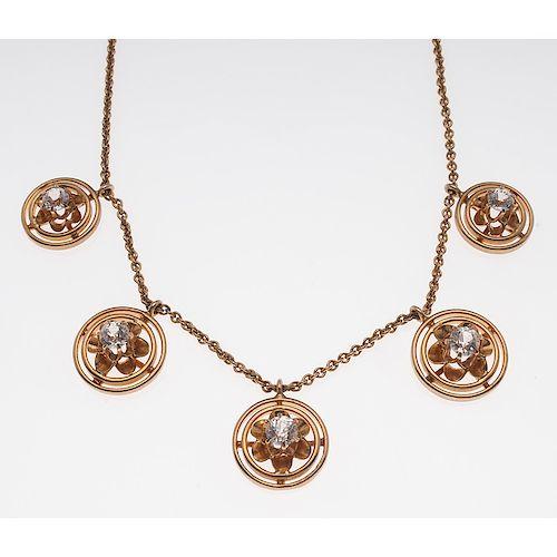 14 Karat White Sapphire Necklace