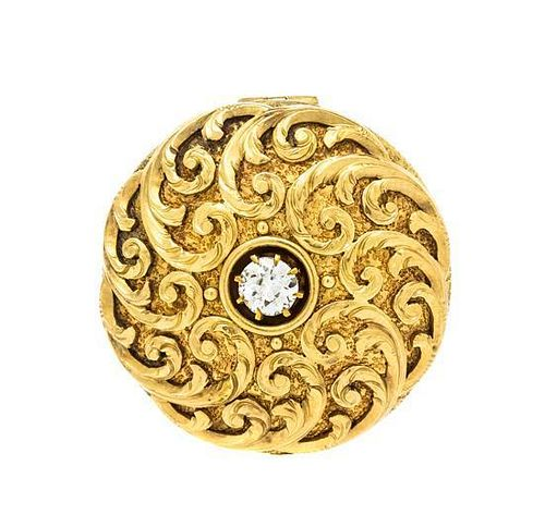 An Antique Yellow Gold and Diamond Circular Brooch, 6.40 dwts.