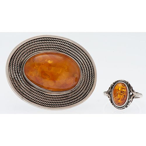 Brooch and Ring in Silver
