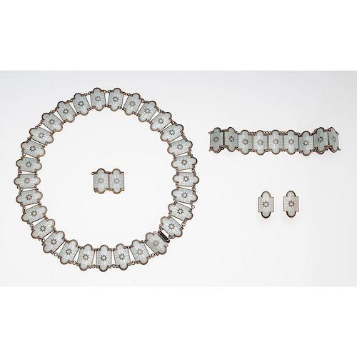 Sterling Silver Norwegian Enamel Parure