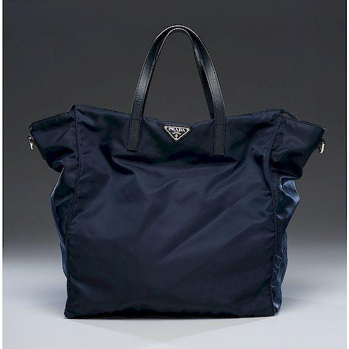 Prada Navy Nylon Zip Tote Bag with Strap