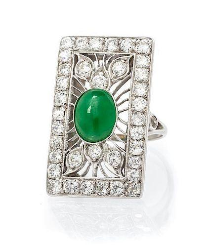 An Art Deco Platinum, Jade and Diamond Ring, 5.10 dwts.