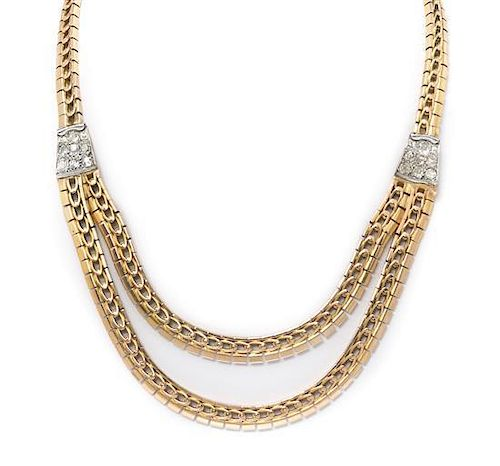 A Retro Rose Gold, Platinum and Diamond Necklace, 41.00 dwts.